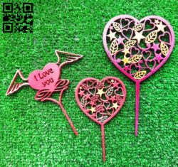 Heart toppers E0011669 file cdr and dxf free vector download for laser cut