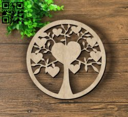 Heart tree E0011709 file cdr and dxf free vector download for laser cut