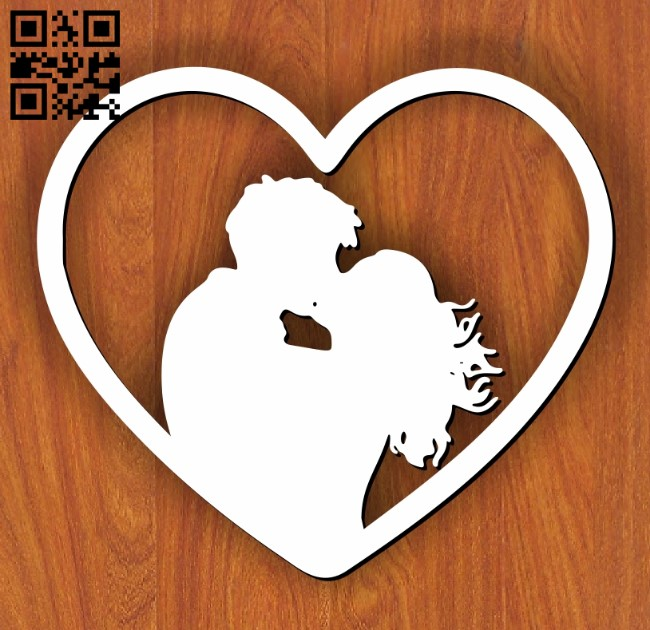 Heart with couple E0011646 file cdr and dxf free vector download for laser cut
