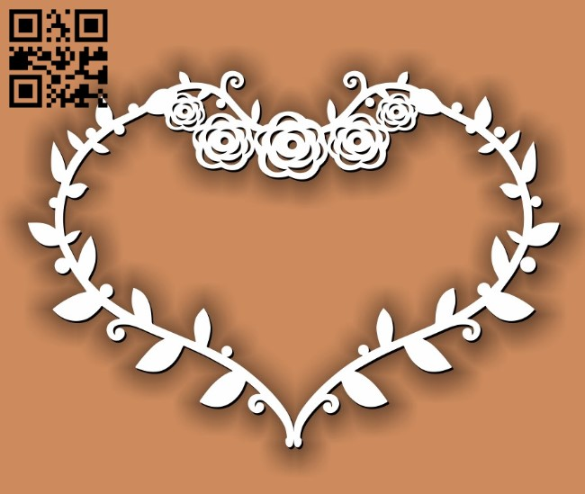 Heart wreath E0011727 file cdr and dxf free vector download for laser cut
