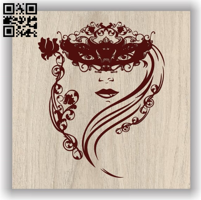 Masked face E0011738 file cdr and dxf free vector download for laser engraving machines