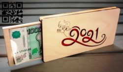 New Year's banknote box E0011796 file cdr and dxf free vector download for Laser cut