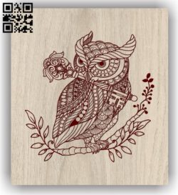Owl with key E0011672 file cdr and dxf free vector download for laser engraving machines