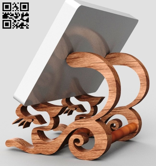 Phone cat stand E0011830 file cdr and dxf free vector download for Laser cut
