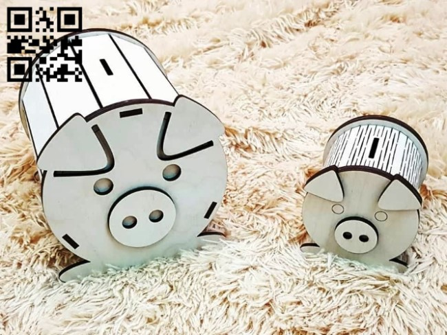Piggy bank E0011702 file cdr and dxf free vector download for laser cut