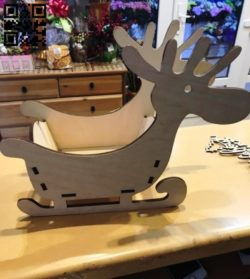 Reindeer sleigh E0011704 file cdr and dxf free vector download for laser cut