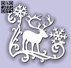 Reindeer with snow E0011716 file cdr and dxf free vector download for laser cut
