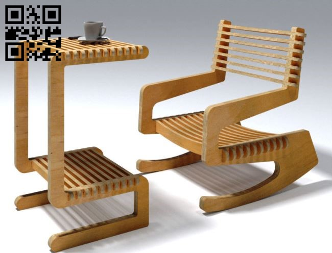 Rocking chair and table E0011653 file cdr and dxf free vector download for laser cut