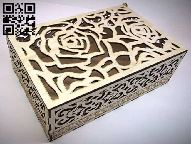 Rose box E0011693 file cdr and dxf free vector download for Laser cut