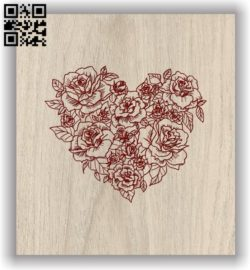 Rose heart E0011645 file cdr and dxf free vector download for laser engraving machines