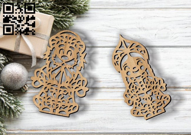 Santa Claus and Snow Princess E0011760 file cdr and dxf free vector download for laser cut
