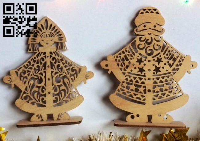 Santa Clauses and Snow Maidens E0011759 file cdr and dxf free vector download for laser cut
