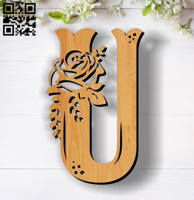 Flower U E0011855 file cdr and dxf free vector download for laser cut