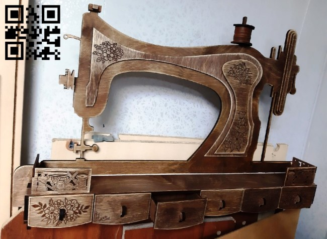 Sewing machine shelf E0011815 file cdr and dxf free vector download for Laser cut