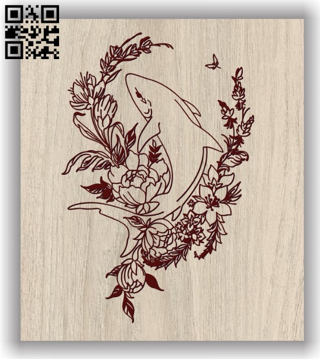 Shark E0011666 file cdr and dxf free vector download for laser engraving machines