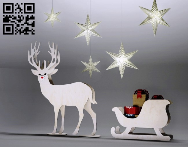 Sleigh carrying gifts E0011711 file cdr and dxf free vector download for laser cut
