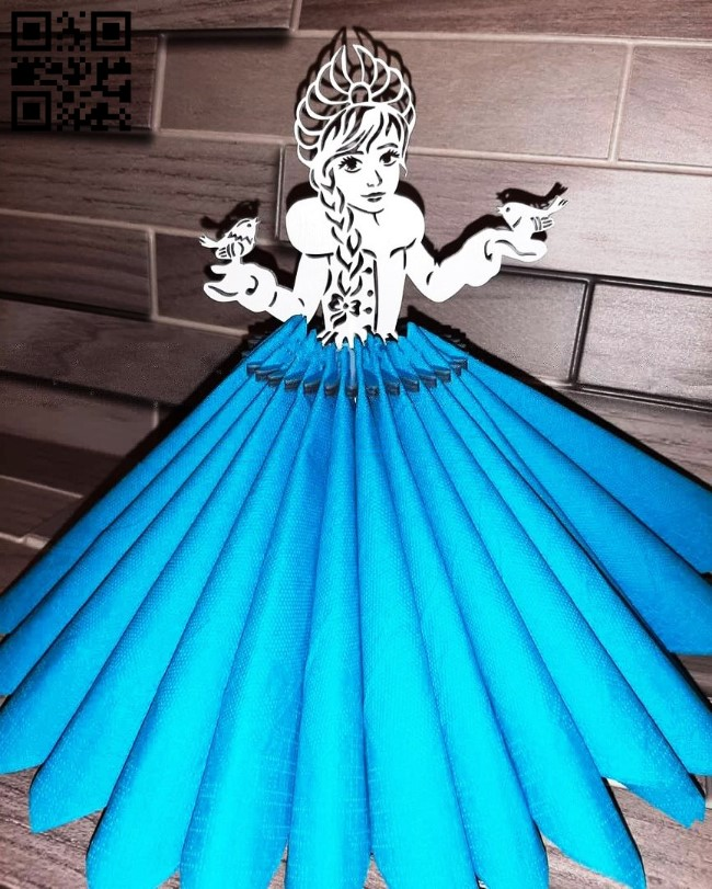Snow Maiden napkin holder E0011885 file cdr and dxf free vector download for laser cut