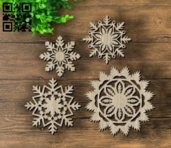 Snowflakes E0011747 file cdr and dxf free vector download for laser cut