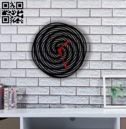 Spiral clock E0011818 file cdr and dxf free vector download for Laser cut