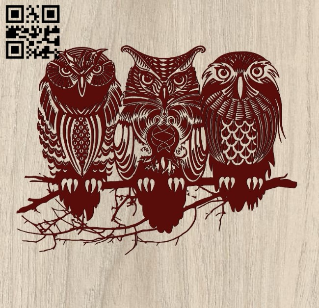 Three owls E0011870 file cdr and dxf free vector download for laser engraving machines