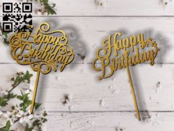 Topper happy birth day E0011814 file cdr and dxf free vector download for Laser cut