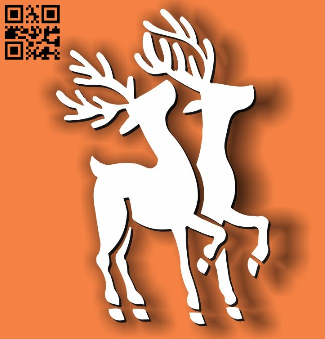 Two reindeer E0011717 file cdr and dxf free vector download for laser cut