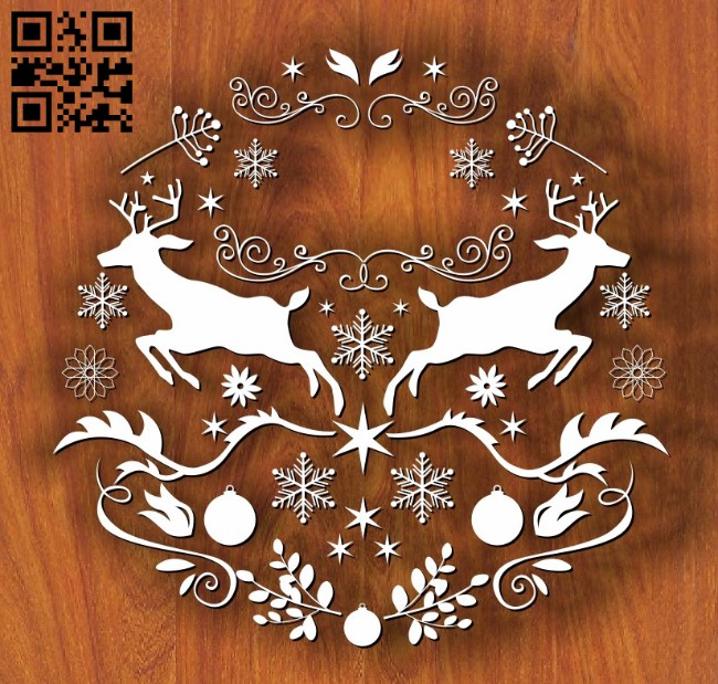 Two reindeer E0011751 file cdr and dxf free vector download for laser cut