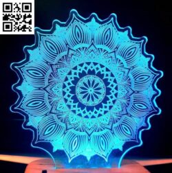 3D illusion led lamp Mandala E0012116 file cdr and dxf free vector download for laser engraving machines