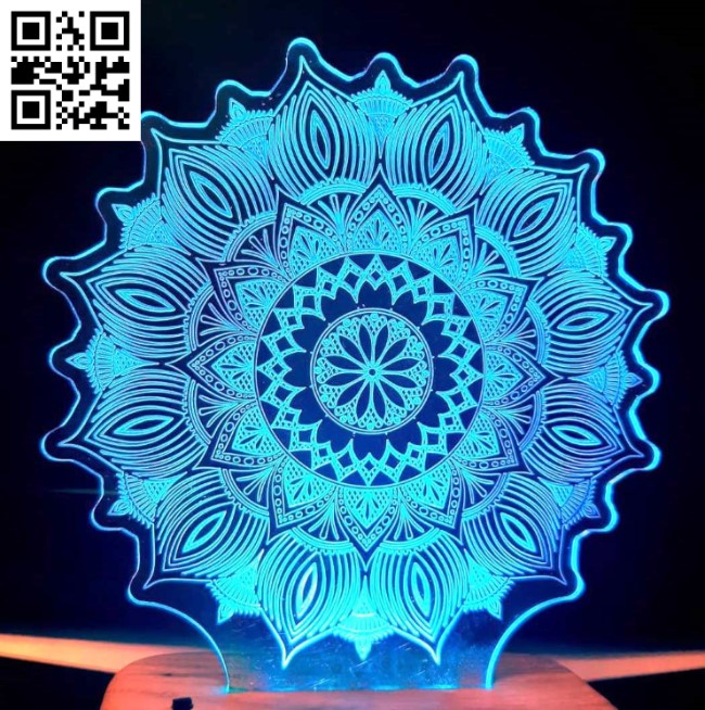 3D illusion led lamp Mandala E0012115 file cdr and dxf free vector download for laser engraving machines