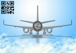 Airplane clock E0012070 file cdr and dxf free vector download for laser cut