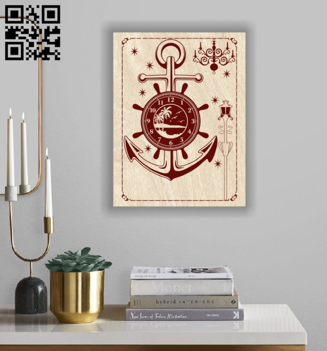Anchor clock E0012186 file cdr and dxf free vector download for laser engraving machines