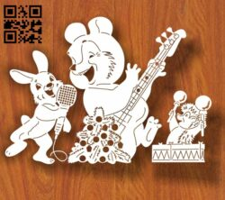 Animals with musical instruments E0012240 file cdr and dxf free vector download for laser cut