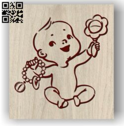 Baby with toys E0012031 file cdr and dxf free vector download for laser engraving machines