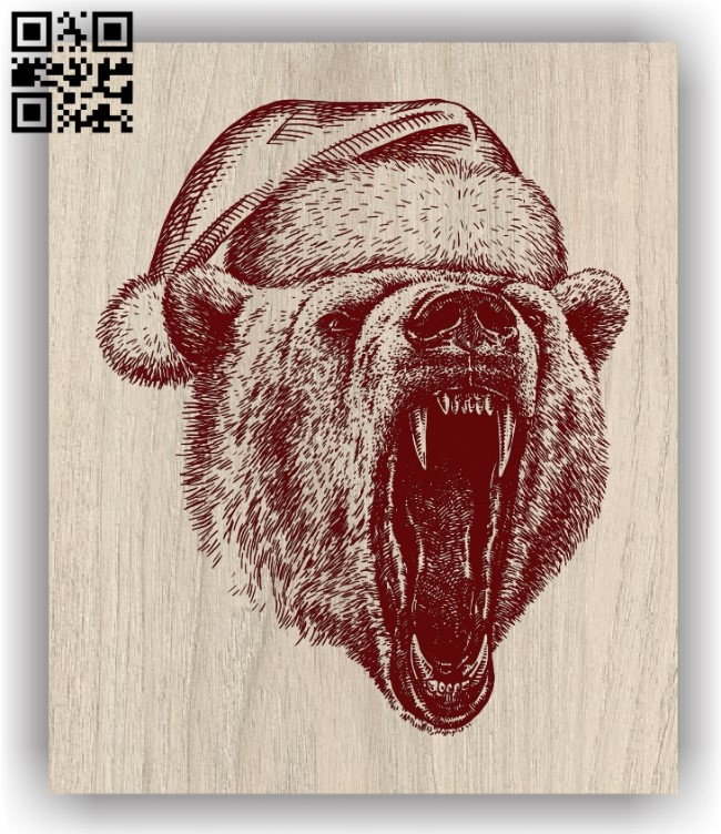 Bear with Christmas E0011969 file cdr and dxf free vector download for laser engraving machines
