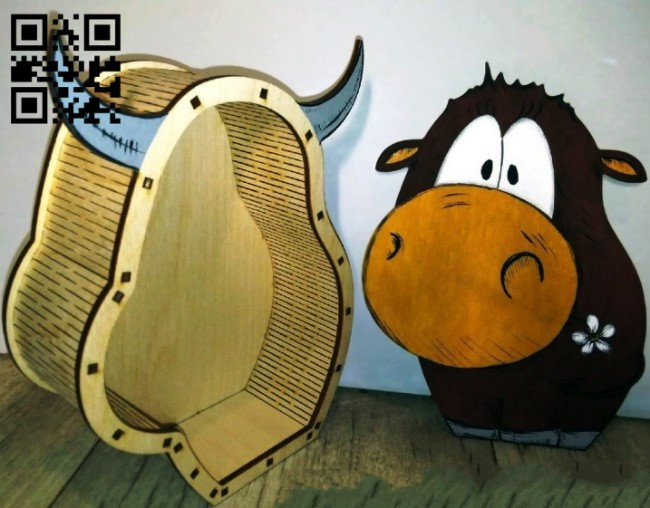 Bull box E0012232 file cdr and dxf free vector download for laser cut