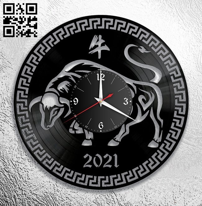 Bull clock E0012182 file cdr and dxf free vector download for laser cut
