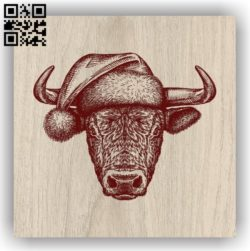 Bull with Christmas E0011972 file cdr and dxf free vector download for laser engraving machines