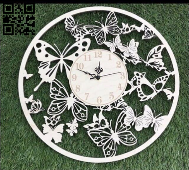 Butterfly clock E0012078 file cdr and dxf free vector download for laser cut