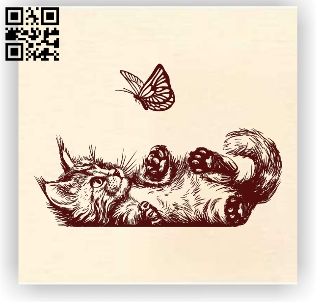 Cats and butterfly E0012247 file cdr and dxf free vector download for laser engraving machines