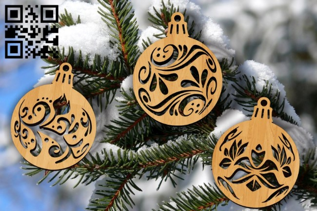 Christmas ball E0011961 file cdr and dxf free vector download for laser cut