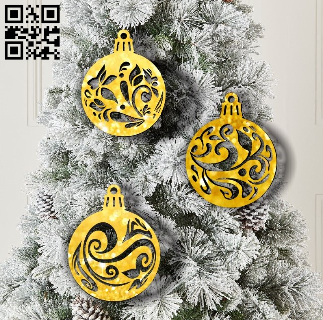 Christmas ball E0011962 file cdr and dxf free vector download for laser cut