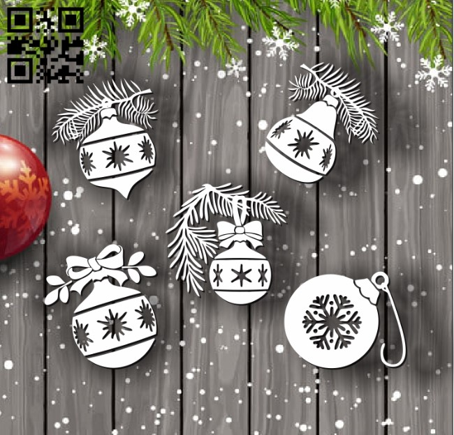 Christmas balls E0012058 file cdr and dxf free vector download for laser cut