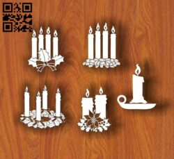 Christmas candles E0012059 file cdr and dxf free vector download for laser cut
