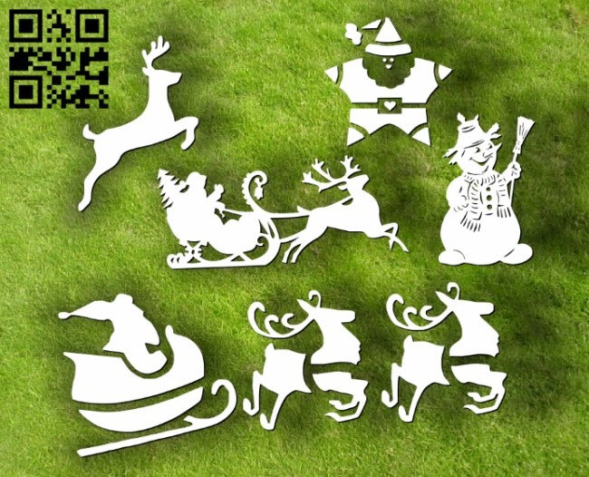 Christmas decorations E0012044 file cdr and dxf free vector download for laser cut