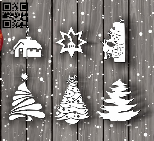Christmas decorations E0012045 file cdr and dxf free vector download for laser cut