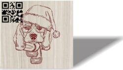 Christmas dog E0012131 file cdr and dxf free vector download for laser engraving machines