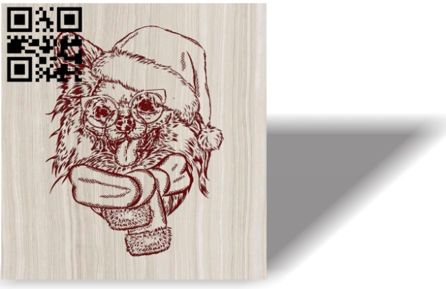 Christmas dog E0012132 file cdr and dxf free vector download for laser engraving machines