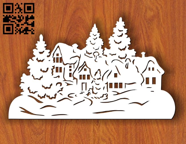 Christmas house E0012026 file cdr and dxf free vector download for laser cut plasma