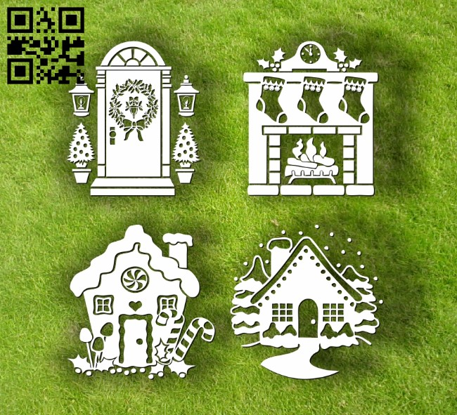 Christmas house E0012060 file cdr and dxf free vector download for laser engraving machines