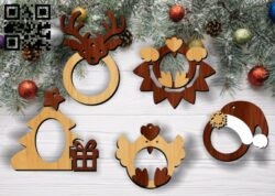 Christmas photo frames E0012159 file cdr and dxf free vector download for laser cut